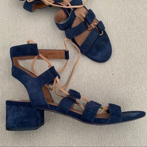 Frye Chrissy Navy Suede Lace-Up Gladiator Sandals